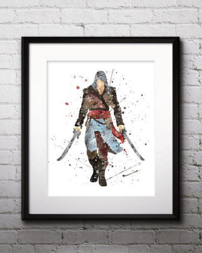 Assassin's Creed Watercolor Print, Assassin's Creed Art, Assassins Creed Art, Assassin's Creed Poster, Nursery, Kids Room Decor, Wall Art