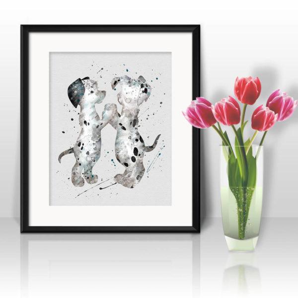 101 Dalmatians Watercolor Print, Dalmatians Art, Dog Art, Disney art, Nursery, Kids Room Decor, Wall Art