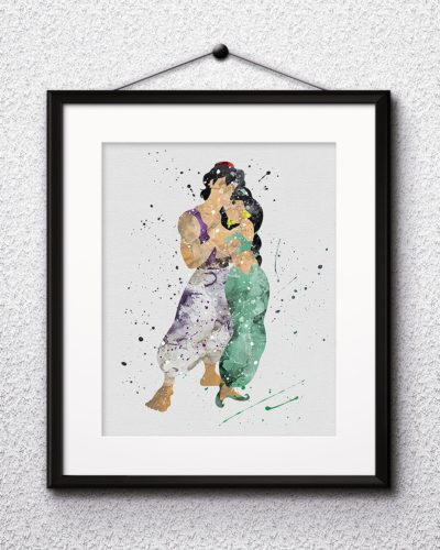 Aladdin Watercolor Print, Aladdin Disney Art, Jasmine Painting, Princess Jasmine Art, Disney Art, Nursery, Kids Room Decor, Wall Art
