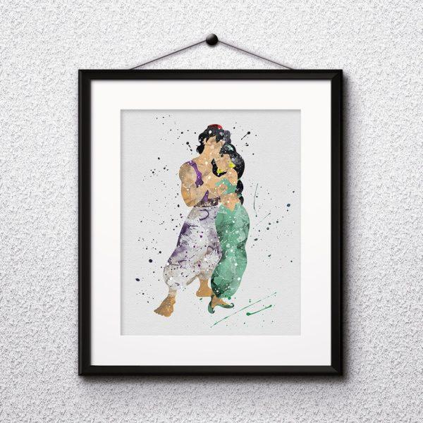 Aladdin Watercolor Print, Aladdin Disney Art, Jasmine Painting, Princess Jasmine Art, Disney Art, Nursery, Kids Room Decor, Wall Art