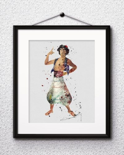 Aladdin Watercolor Print, Aladdin Disney Art, Princess Art, Jasmine Art, Disney Art, Nursery, Kids Room Decor, Wall Art
