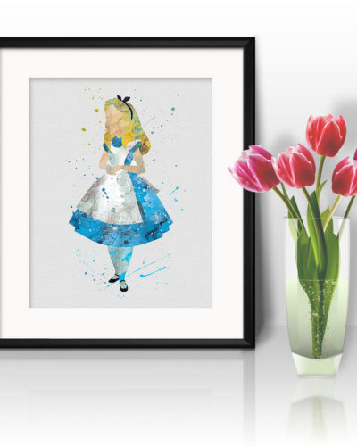 Alice in Wonderland Watercolor Print, Alice in Wonderland Painting, Alice in Wonderland Poster, Nursery, Kids Room Decor, Wall Art