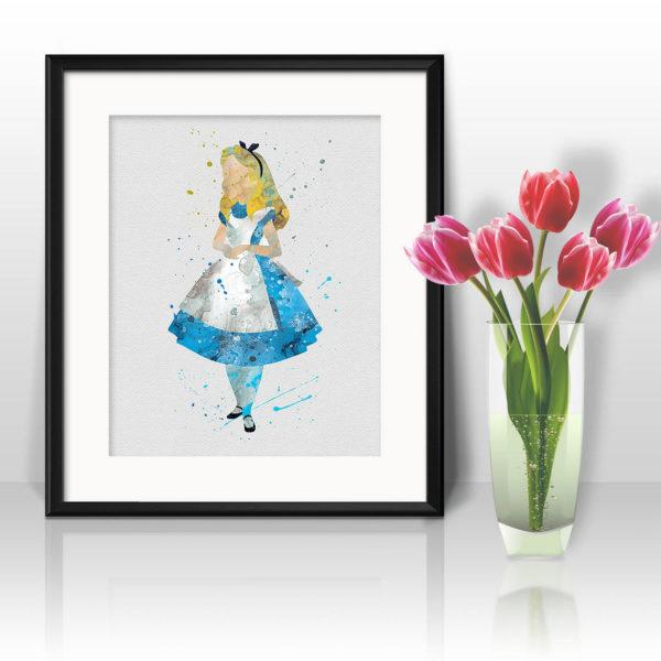 Alice in Wonderland Watercolor Print, Alice in Wonderland Painting, Alice in Wonderland Poster, Nursery, Kids Room Decor, Wall Art