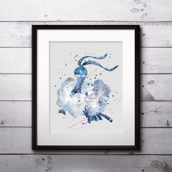 Altaria Watercolor Print, Altaria Art, Pokemon Altaria, Pokemon Painting, Anime Art, Nursery, Kids Room Decor, Wall Art