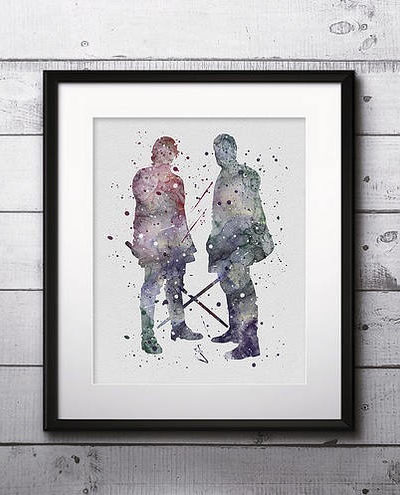 Anakin and Obi-Wan Kenobi Watercolor Print, Star Wars Painting, Star Wars Jedi, Nursery, Kids Room Decor, Wall Art