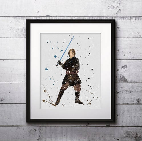 Anakin Watercolor Print, Star Wars Painting, Star Wars Jedi, Nursery, Kids Room Decor, Wall Art