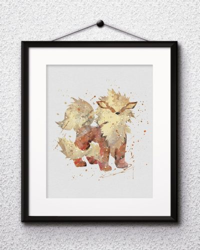 Arcanine Watercolor Print, Arcanine Art, Pokemon Arcanine, Pokemon Painting, Anime Art, Nursery, Kids Room Decor, Wall Art