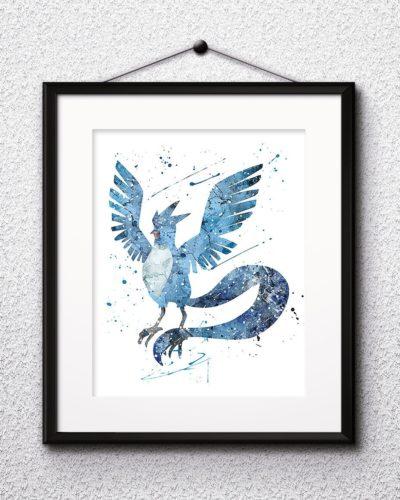 Articuno Watercolor Print, Articuno Art, Pokemon Articuno, Pokemon Painting, Anime Art, Nursery, Kids Room Decor, Wall Art