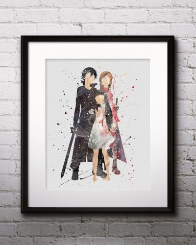 Asuna Watercolor Print, Kirito Painting, Kirito Asuna, Anime, Japanese Art, Manga Art, Nursery, Kids Room Decor, Wall Art