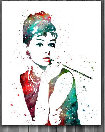 Audrey Hepburn Watercolor Print, Audrey Hepburn Art, Audrey Hepburn Poster, Nursery, Kids Room Decor, Wall Art
