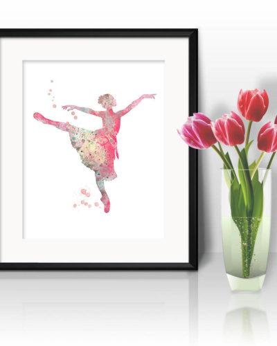 Ballerina Watercolor Print, Ballerina Print, Ballerina Painting, Ballerina Poster, Girl Art, Nursery, Kids Room Decor, Wall Art