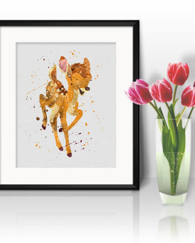 Bambi Watercolor Print, Disney Art, Animal Art, Bambi Disney art, Nursery, Kids Room Decor, Wall Art