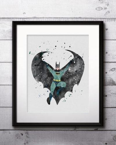 Batman Watercolor Print, Batman Art, Batman Painting, DC Comics Art, Superhero art, Nursery, Kids Room Decor, Wall Art