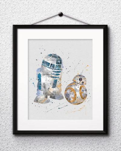 BB8 and R2-D2 Watercolor Print, Star Wars Painting, Star Wars, Star Wars Robots, Nursery, Kids Room Decor, Wall Art