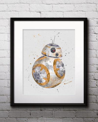 BB8 Watercolor Print, Star Wars Painting, Star Wars, Star Wars Robots, Nursery, Kids Room Decor, Wall Art