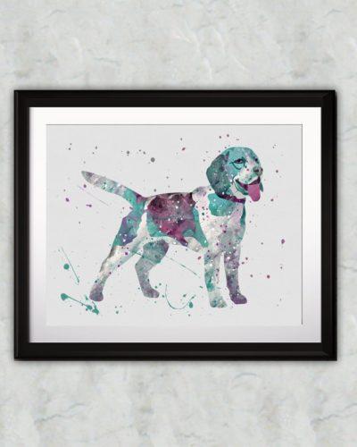 Beagle Watercolor Print, Beagle Art, Beagle Painting, Animal Art, Nursery, Kids Room Decor, Wall Art