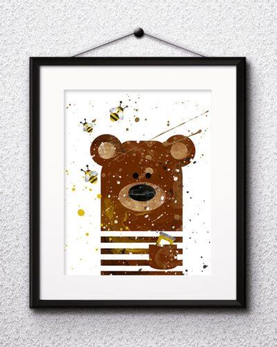 Bear Watercolor Print, Bear Art, Bear Painting, Bear Poster, Animal Art, Nursery Painting, Nursery art, Kids Room Decor, Wall Art