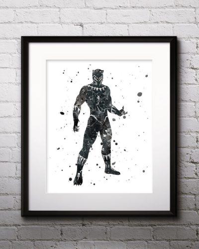Black Panther Watercolor Print, Black Panther Art, Marvel Comics Art, Avengers, Superhero Art, Nursery, Kids Room Decor, Wall Art