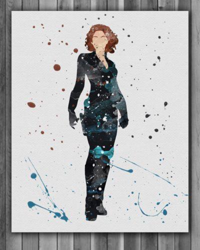 Black Widow Watercolor Print, Black Widow Art, Black Widow Painting, Marvel Comics Art, Avengers, Superhero Art, Kids Room Decor, Wall Art