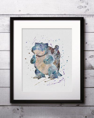 Blastoise Watercolor Print, Blastoise Art, Pokemon Blastoise, Pokemon Painting, Anime Art, Nursery, Kids Room Decor, Wall Art