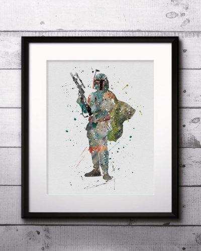 Boba Fett Watercolor Print, Star Wars Painting, Star Wars art, Star Wars Hero, Nursery, Kids Room Decor, Wall Art