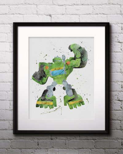 Boulder Watercolor Print, Boulder Art, Robot art, Transformers Painting, Anime Art, Nursery, Kids Room Decor, Wall Art
