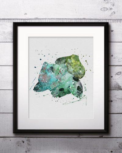 Bulbasaur Watercolor Print, Bulbasaur Art, Pokemon Bulbasaur, Pokemon Painting, Anime Art, Nursery, Kids Room Decor, Wall Art