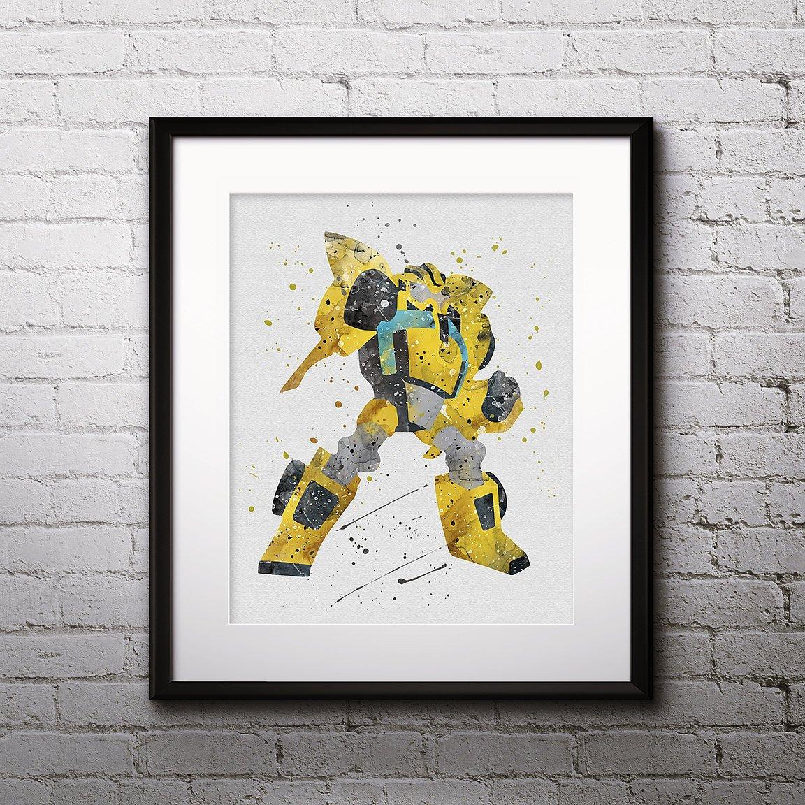 Bumblebee Watercolor Print Bumblebee Art Robot Art Transformers Painting Anime Art Nursery Kids Room Decor Wall Art