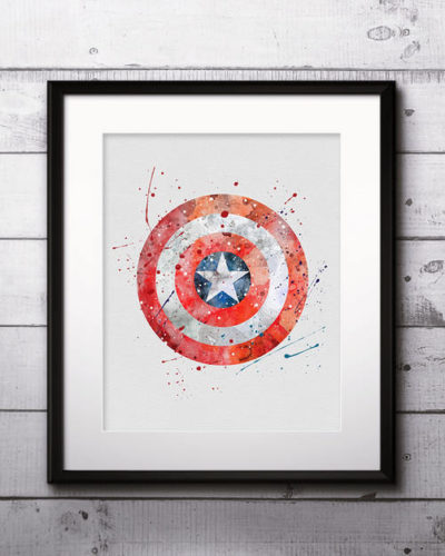 Captain America Watercolor Print, Captain America Art, Captain America Symbol, Marvel Comics Art, Superhero art, Nursery, Kids Room Decor