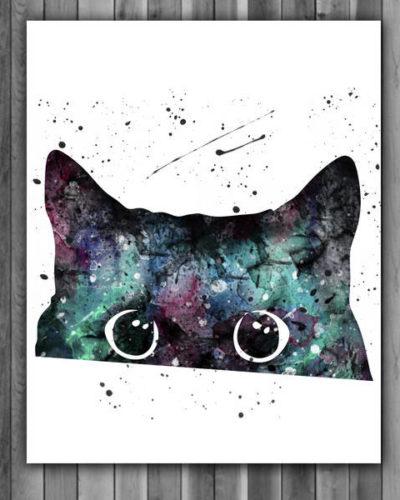 Cat Watercolor Print, Black Cat Art, Black Cat Painting, Peeking Cat Art, Animal Art, Nursery, Kids Room Decor, Wall Art