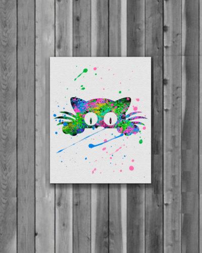 Cat Watercolor Print, Cat Art, Cat Painting, Animal Art, Nursery, Kids Room Decor, Wall Art