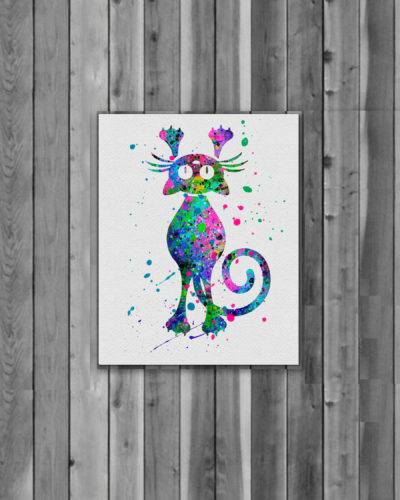 Cat Watercolor Print, Cat Art, Cat Painting, Animal Art, Nursery, Kids Room Decor, Wall Art