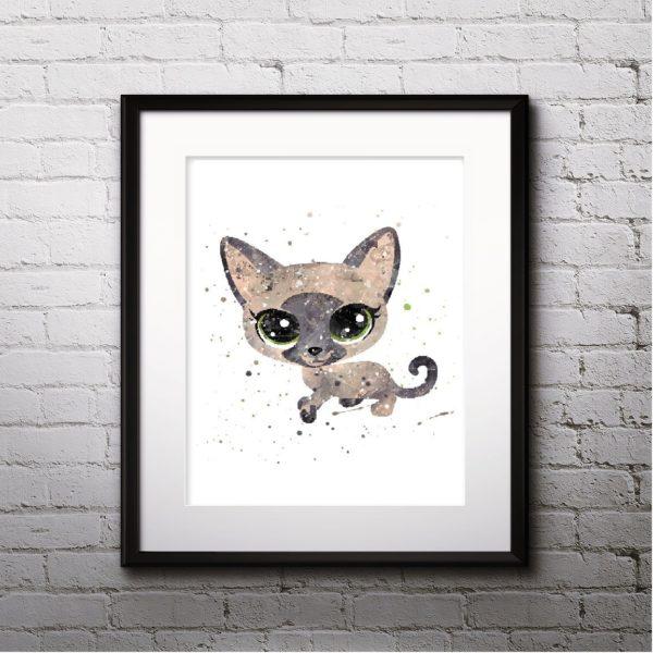 Cat Watercolor Print, Cat Art, Cat Painting, Cat Poster, Cat Print, Animal Art, Nursery, Kids Room Decor, Wall Art
