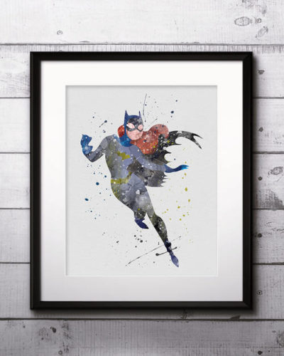 Catwoman Watercolor Print, Catwoman Art, Catwoman Painting, DC Comics Art, Superhero art, Nursery, Kids Room Decor, Wall Art