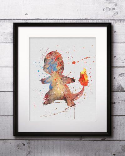 Charmander Watercolor Print, Charmander Art, Pokemon Charmander , Pokemon Painting, Anime Art, Nursery, Kids Room Decor, Wall Art
