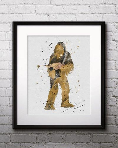 Chewbacca Watercolor Print, Star Wars Painting, Star Wars art, Star Wars Hero, Nursery, Kids Room Decor, Wall Art