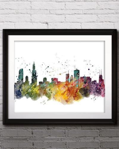 Chicago Skyline Watercolor Print, Chicago Skyline Art, Chicago Painting, Chicago Poster, Nursery, Kids Room Decor, Wall Art