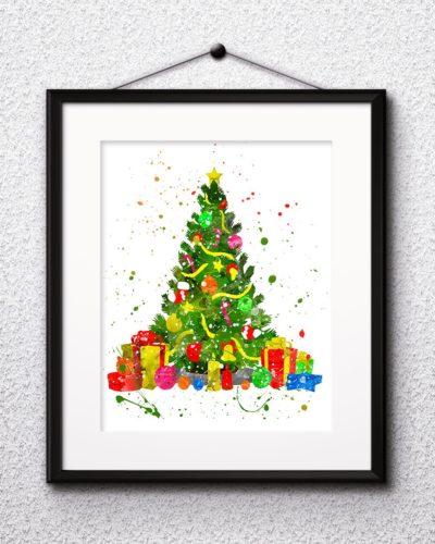 Christmas Tree Watercolor Print, Christmas Print, Christmas Painting, Christmas Art, Nursery, Kids Room Decor, Wall Art