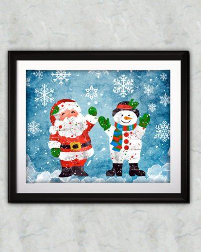 Christmas Watercolor Print, Snowman Painting, Santa Claus Painting, Christmas Art, Nursery, Kids Room Decor, Wall Art