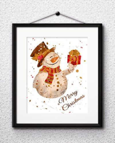 Christmas Watercolor Print, Snowman Painting, Snowman Art, Christmas Art, Nursery, Kids Room Decor, Wall Art
