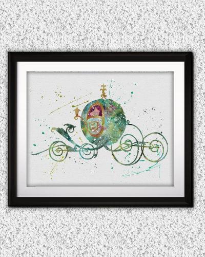 Cinderella Watercolor Print, Cinderella Disney Art, Princess Art, Cinderella Painting, Disney Art, Nursery, Kids Room Decor, Wall Art