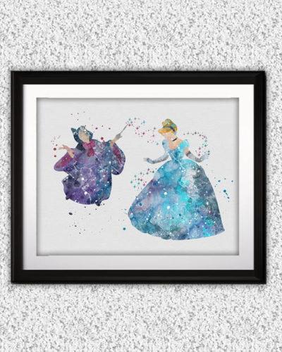 Cinderella Watercolor Print, Cinderella Disney Art, Princess Art, Disney Art, Nursery, Kids Room Decor, Wall Art
