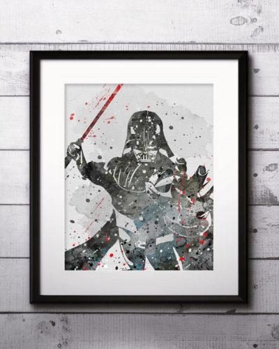 Darth Vader Watercolor Print, Star Wars Painting, Star Wars, Nursery, Kids Room Decor, Wall Art