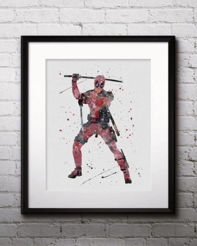 Deadpool Watercolor Print, Deadpool Art, Marvel Comics Art, Deadpool Painting, Superhero Art, Nursery, Kids Room Decor, Wall Art