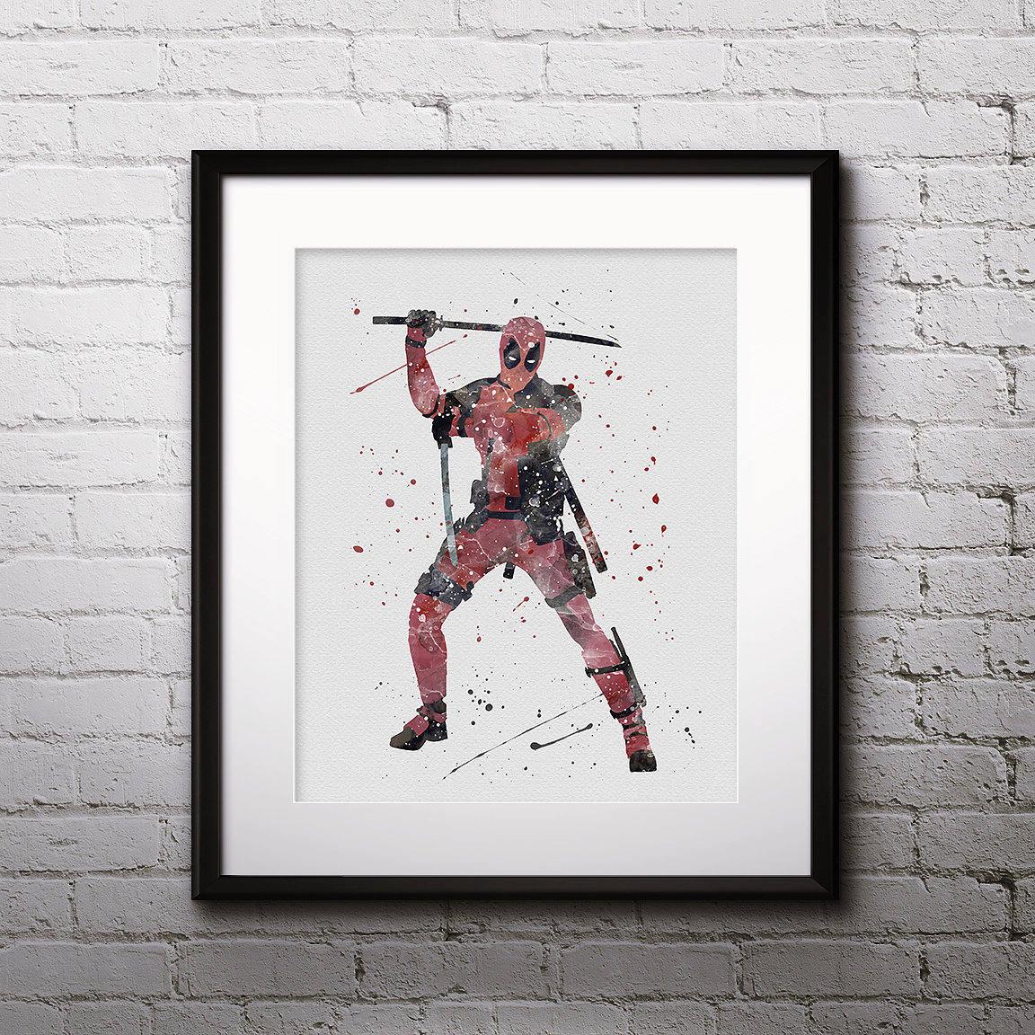 Deadpool Watercolor Print, Deadpool Art, Marvel Comics Art, Deadpool  Painting, Superhero Art
