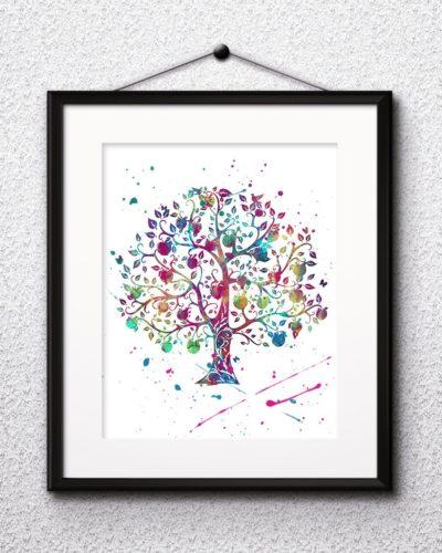Decorative Tree Watercolor Print, Christmas Print, Christmas Painting, Christmas Art, Nursery, Kids Room Decor, Wall Art