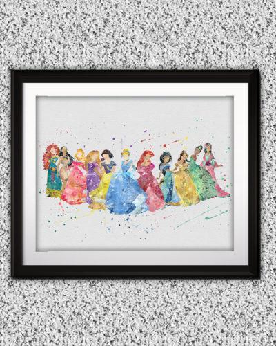 Disney Princesses Watercolor Print, Disney Art, Princess art, Nursery, Kids Room Decor, Wall Art