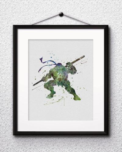 Donatello Watercolor Print, Teenage Mutant Ninja Turtles Art, Donatello Painting, Ninja Painting, Nursery, Kids Room Decor, Wall Art
