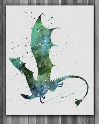 Dragon Watercolor Print, Dragon Art, Nursery, Kids Room Decor, Wall Art