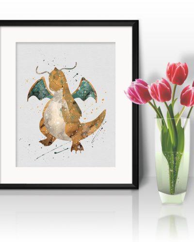 Dragonite Watercolor Print, Dragonite Art, Pokemon Dragonite, Pokemon Painting, Anime Art, Nursery, Kids Room Decor, Wall Art